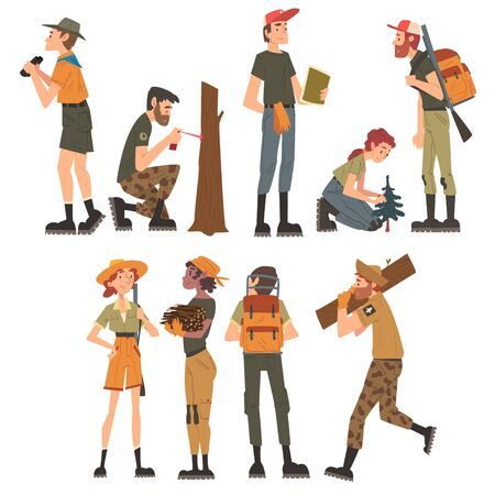 Male and Female Forest Rangers Working in Forest Set, National Park Service Employee Characters in Uniform Cartoon Style Vector Illustration