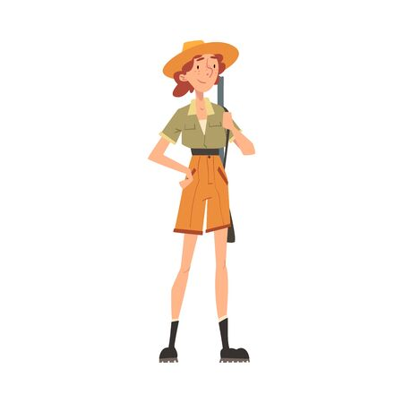 Girl Forest Ranger with Rifle, National Park Service Employee Character in Uniform Cartoon Style Vector Illustration