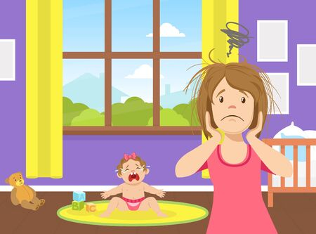 Tired Stressed Young Mom Standing Next to Crying Baby, Fatigue and Depression, Problem of Maternity Vector Illustration Illustration