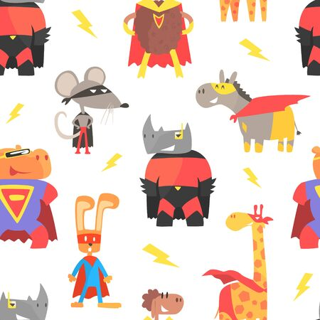 Superhero Animals Seamless Pattern, Cute Animal Characters in Capes and Masks, Textile, Wallpaper, Packaging, Background Design Cartoon Vector Illustration Illustration