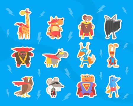 Funny Animals Dressed as Superheroes Stickers Set, Funny Giraffe, Dog, Sheep, Bear, eagle, Mouse, Hippo in Masks and Capes Cartoon Vector Illustration Illustration