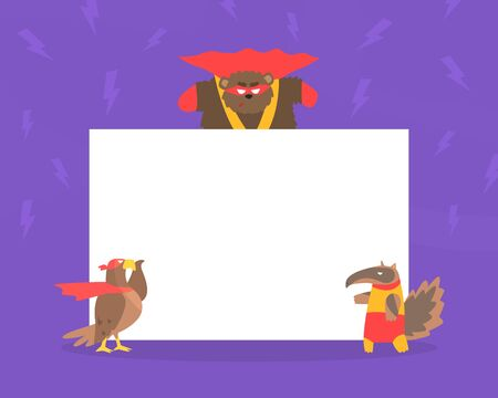 Cute Superhero Animals with Blank Banner, Eagle, Bear and Badger in Capes and Masks Standing Next to the Blank Signboard Cartoon Vector Illustration