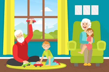 Grandparents Playing with Grandchildren at Home, Grandfather and Grandson Sitting on Floor and Playing Toy Cars, Granddaughter Sitting on Grandmother Knees Cartoon Vector Illustration
