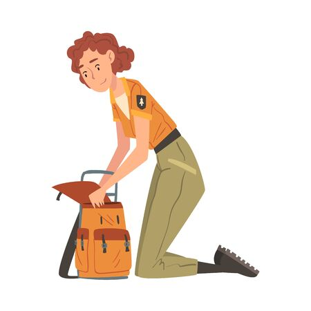 Girl Forest Ranger with Backpack, National Park Service Employee Character in Uniform Cartoon Style Vector Illustration