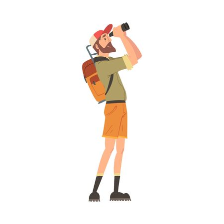 Man Forest Ranger with Backpack Looking Through Binoculars, National Park Service Employee Character in Uniform Cartoon Style Vector Illustration