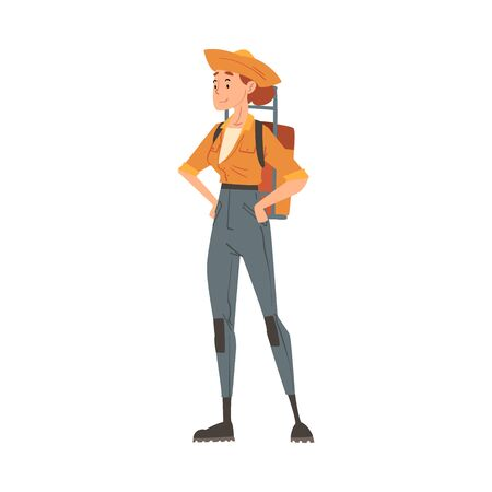 Girl Forest Ranger Standing with Backpack, National Park Service Employee Character in Uniform and Hat Standing with Hands on her Waist Cartoon Style Vector Illustration