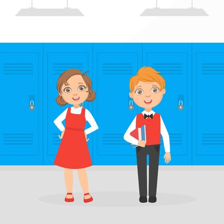 Cute Boy and Girl Elementary School Students Standing in front of Lockers at School Corridor Cartoon Vector Illustration