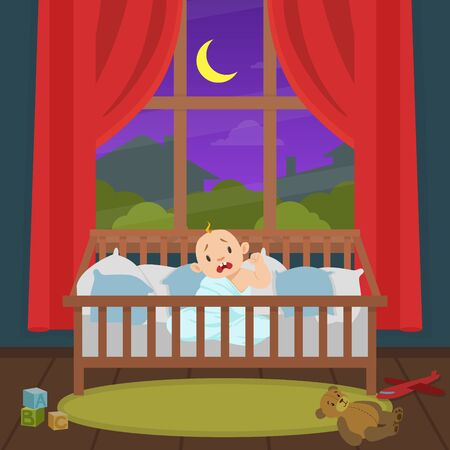 Cute Little Baby Sitting in the Bed and Crying at Night Vector Illustration Ilustracja