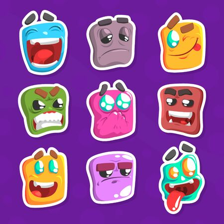 Funny Emojis Stickers Set, Emoticons with Different Moods Cartoon Vector Illustration