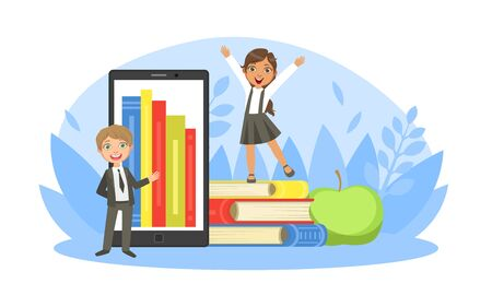 Back to School, Tiny Cute Elementary School Boy Student in Uniform Standing in front of Tablet with Bookshelf on Screen Smiling Girl Standing on Pile of Books Cartoon Vector Illustration
