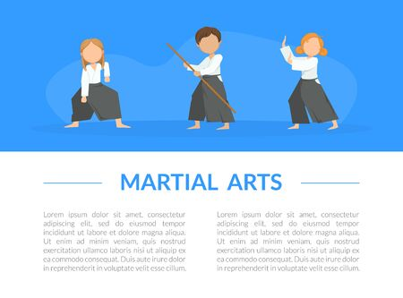 Martial Arts Banner Template with Place for Text and Cute Kids Practicing Aikido in Black and White Uniform Cartoon Vector Illustration