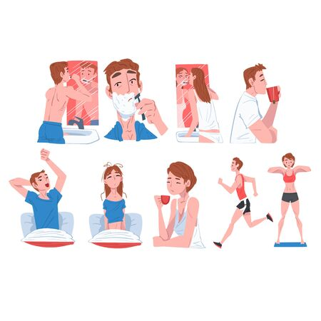 People Activity Morning Daily Routine Set, Men and Women Waking up, Brushing Teeth, Doing Morning Workout, Drinking Coffee Cartoon Style Vector Illustration