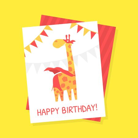 Happy Birthday Card Template with Cute Giraffe Superhero Animal in Red Cape and Mask Cartoon Vector Illustration Illustration