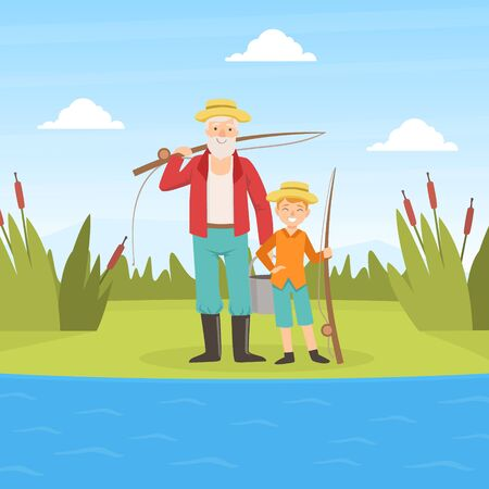 Grandfather and Grandson Going Fishing, Grandparent and Grandchild Having Good Time Together at Sunny Summer Day Cartoon Vector Illustration