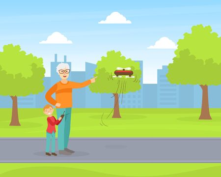 Grandfather and Grandson Operating Flying Drone in Park, Grandparent and Grandchild Having Good Time Together at Sunny Summer Day Cartoon Vector Illustration