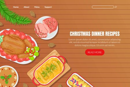 Christmas Dinner Recipes Landing Page Template, Festive Table with Traditional Festive Dishes on Wooden Table, Top View Flat Vector Illustration