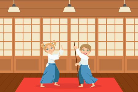 Boys Asian Martial Art Fighters, Cute Children Athletes Practicing Aikido Technique, Kids Wearing Kimono Training in Gym Cartoon Vector Illustration