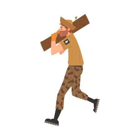 Man Forest Ranger Carrying Wooden Log, National Park Service Employee Character in Uniform Cartoon Style Vector Illustration Stock Illustratie