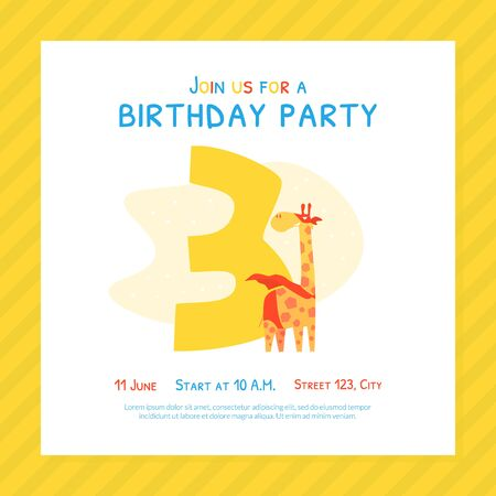 Happy Third Birthday Invitation Card Template, Birthday Anniversary Number with Cute Giraffe Animal Cartoon Vector Illustration