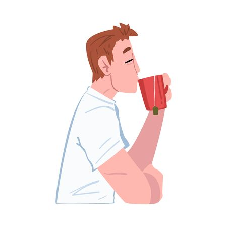 Young Man Drinking Tea or Coffee, Guy Enjoying Drinking of Hot Drink, Side View, People Activity Daily Routine Cartoon Style Vector Illustration on White Background