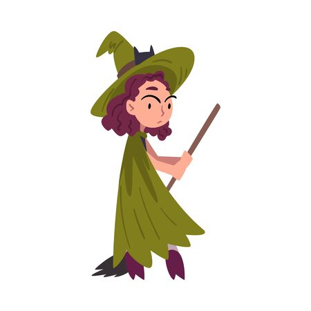 Girl Witch Standing with Broom Wearing Green Cloak and Hat, Cute Halloween Cartoon Character Vector Illustration Çizim