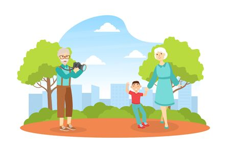 Grandfather Shooting Grandmother with Grandchild in Park, Grandparents and Grandchild Having Good Time Together at Sunny Summer Day Cartoon Vector Illustration 矢量图像