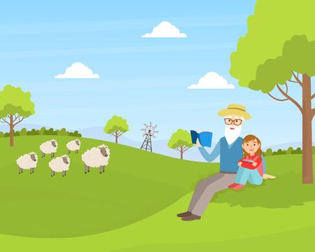 Grandfather with Granddaughter sitting on Green Lawn and Reading Book, Grandparent and Grandchild Having Good Time Together at Sunny Summer Day Cartoon Vector Illustration