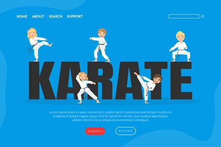 Karate Landing Page Template, Cute Boys and Girls Practicing Asian Martial Arts Web Banner Cartoon Vector Illustration
