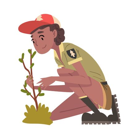 Girl Forest Ranger Caring for Plant, National Park Service Employee Character in Uniform Cartoon Style Vector Illustration