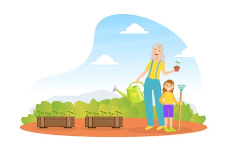 Grandmother And Granddaughter Working in Garden and Watering Seedlings, Grandparent and Grandchild Having Good Time Together Cartoon Style Vector Illustration. 矢量图像