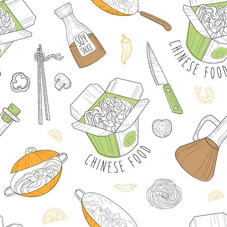 Chinese Food Seamless Pattern, Traditional Asian Cuisine Dishes, Design Element Can Be Used for Fabric, Wallpaper, Packaging, Web Page, Background Vector Illustration.