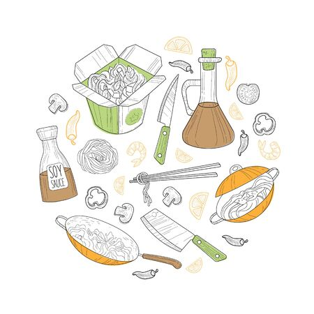 Asian Food, Wok Menu Traditional Ingredients of Round Shape, Restaurant, Cafe Design Element, Banner, Flyer, Card, Business Promote Vector Illustration.