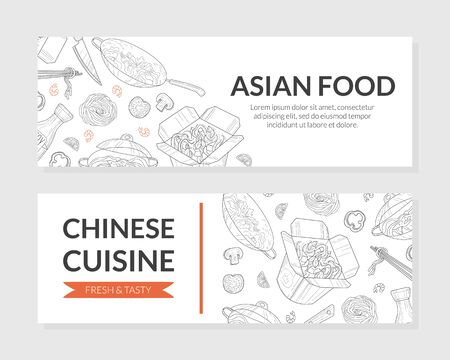 Asian Food, Chinese Cuisine Banner Templates Set, Traditional Asian Menu Restaurant, Cafe Design Element, Coupon, Flyer, Card, Business Promote Vector Illustration.