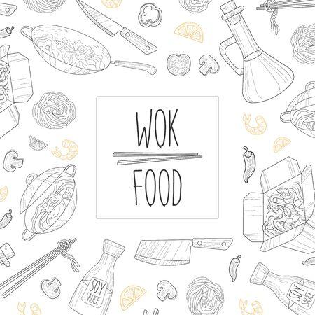 Wok Food Banner Template, Traditional Asian Menu Restaurant, Cafe Design Element, Banner, Flyer, Card Vector Illustration