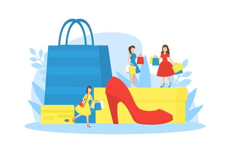 Girls Purchasing of Goods and Gifts on Seasonal Sale, Tiny Women and Huge Shopping Paper Bags Vector Illustration