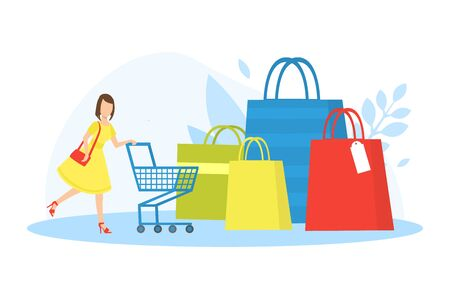 Tiny Young Woman with Shopping Trolley and Huge Paper Bags, Girl on Seasonal Sale Vector Illustration 向量圖像
