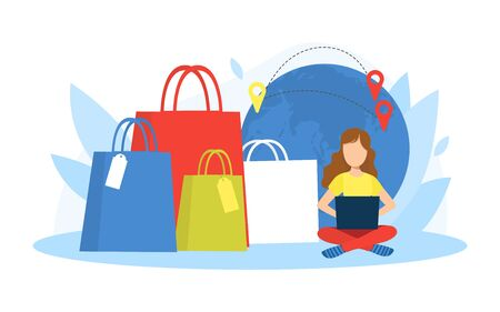 Tiny Young Young Woman Shopping Online Using Laptop, Huge Paper Bags Standing Next to Her, Girl on Seasonal Sale Vector Illustration
