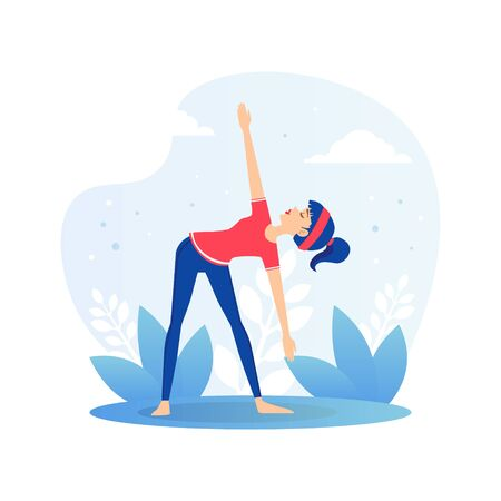 Girl Doing Yoga Outdoors, Young Woman Practicing Asana During Morning Physical Workout Flat Vector Illustration