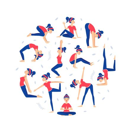 Young Woman Practicing Various Asana Poses, Yoga Lessons Pattern of Round Shape Flat Vector Illustration