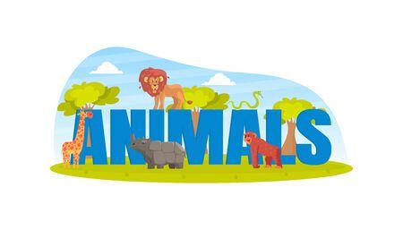 Animals Capital Letter Text and Tiny Wild Animals, Lion, Monkey, Rhino, Giraffe Vector Illustration