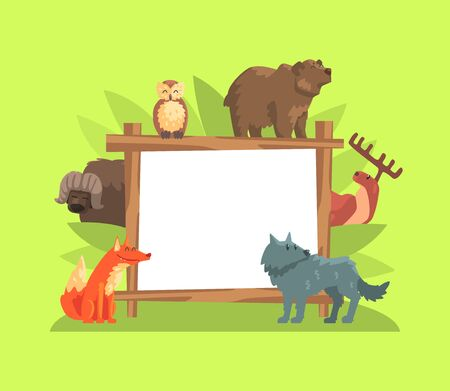 Cute Jungle Animals with White Empty Banner, Bear, Buffalo, Owl, Bear, Deer, Wolf Standing Next to the Blank Signboard Vector Illustration Ilustracja