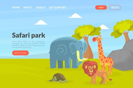 Safari Park Landing Page Template, African Wild Animals Park Website, Web Page Vector Illustration Vector Illustration Ilustracja