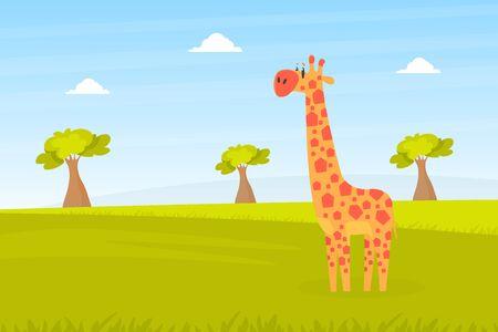 Cute Giraffe on Beautiful African Landscape, Wild Animal in the Zoo or Safari Park Vector Illustration Banco de Imagens - 150527733