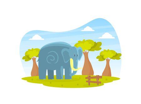Cute Elephant on Beautiful African Landscape, Wild Animal in the Zoo or Safari Park Vector Illustration Ilustração