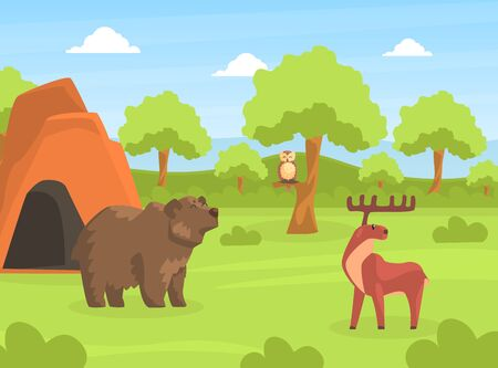 Wild Animals on Beautiful Natural Summer Landscape, Bear and Moose in the Zoo or Safari Park Vector Illustration Banco de Imagens - 150527739