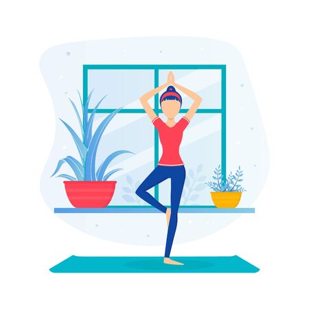 Girl Doing Yoga, Young Woman Standing in Tree Pose During Morning Physical Workout Flat Vector Illustration Vectores