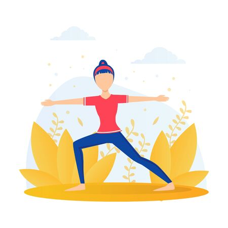 Girl Doing Yoga in the Park, Young Woman Standing in Warrior Pose During Morning Physical Workout Flat Vector Illustration Vectores