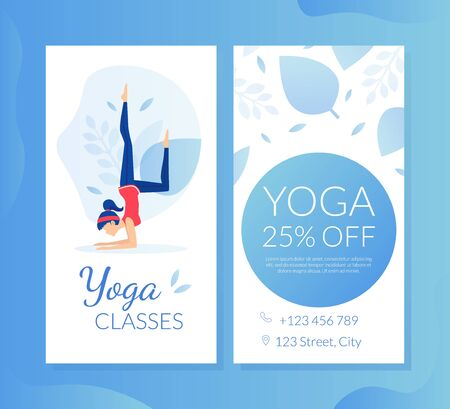 Yoga Lesson Business Card, Gift Voucher, Special Offer Discount Coupon, Flyer Template Flat Vector Illustration Ilustracje wektorowe