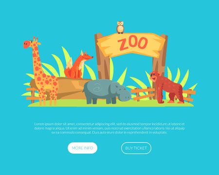 Zoo or Safari Entrance with African Animals Landing Page Template, African Animals Park Website, Web Page Vector Illustration