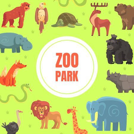 Zoo Park Banner Template with Cute Wild African Animals Vector Illustration Ilustracja